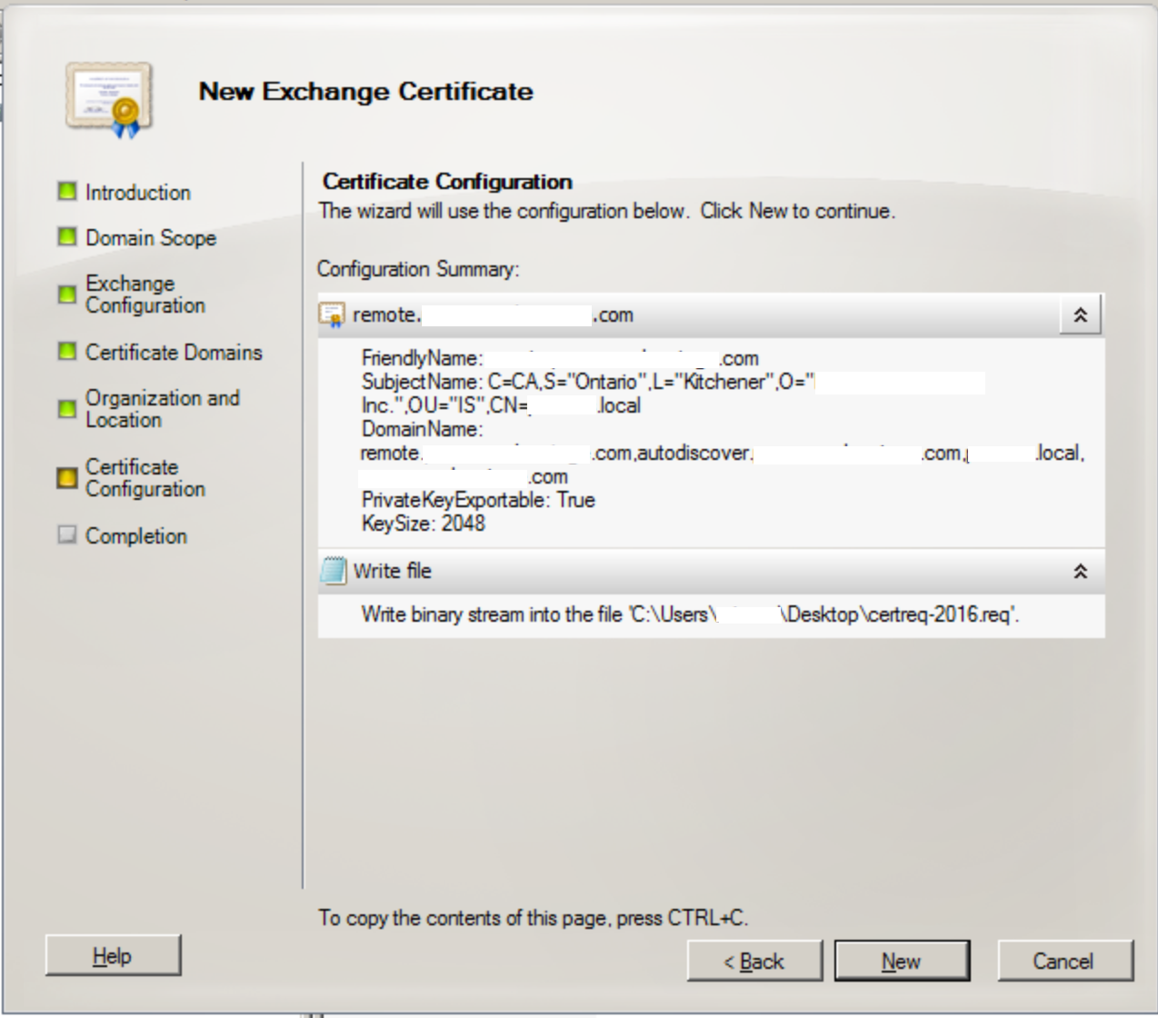 Ssl certificates prepare a 3rd party ssl certificate for click new and then finish xflitez Images
